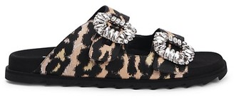 Roger Vivier Viv Crystal Buckle Leopard Slide Sandals