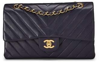 Chanel Navy Chevron Lambskin Classic Double Flap Medium