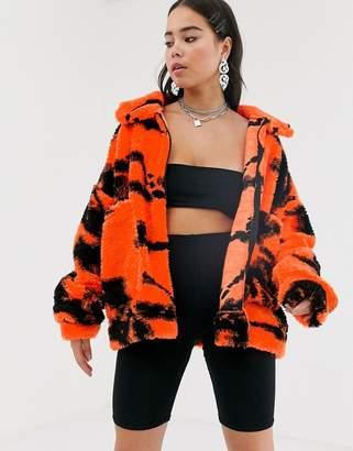 Jaded London tie dye fleece festival jacket-Multi
