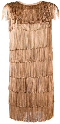 Norma Kamali All-Over Fringe Mini Dress
