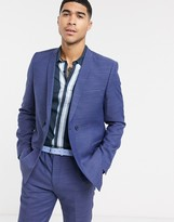 Viggo recycled polyester double breasted suit jacket in navy texture