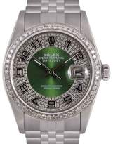 Rolex Datejust Stainless Steel Green Diamond Bull Eye Tuxedo Dial 36mm Mens Watch
