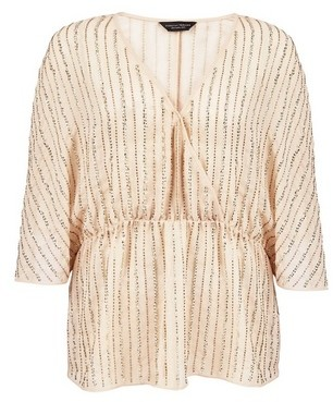 Dorothy Perkins Womens Champagne Wrap Batwing Sleeve Top