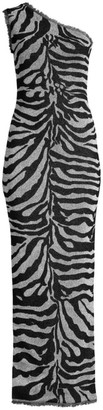 Herve Leger One-Shoulder Metallic Zebra Column Gown