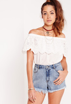 Missguided High Waisted Distressed Denim Shorts Blue