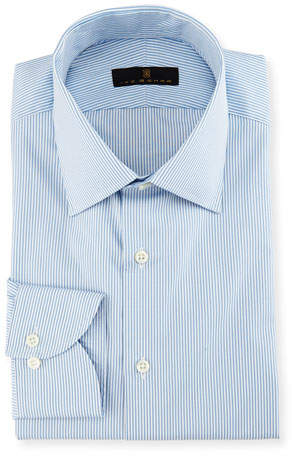 Ike Behar Gold Label Striped Dress Shirt, White/Blue
