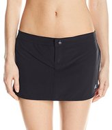 adidas Women's Solid Woven Swim Skort Bikini Bottom with Panty