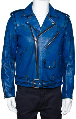 John Elliott X Blackmeans Black & Blue Painted Leather Riders Jacket L