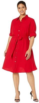 Lauren Ralph Lauren Plus Size Fit-and-Flare Shirtdress (Lipstick Red) Women's Clothing