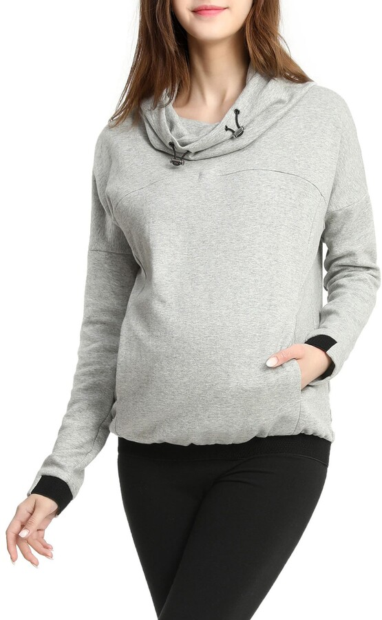 Hotkey Womens Fashion Hoodies Long Sleeve Cowl Neck Hooded Sweatshirts Casual Color Patchwork Drawstring Pullover Tops