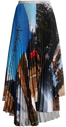 Plan C Pleated Asymmetric Printed Maxi Skirt