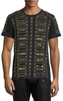 Robin's Jeans Gold-Metal Studded Short-Sleeve T-Shirt, Black