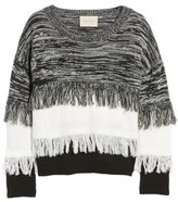Moon River Women's Frayed Mix Knit Sweater