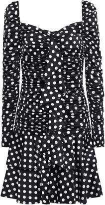 Moschino Ruffled Tiered Polka-dot Satin Mini Dress