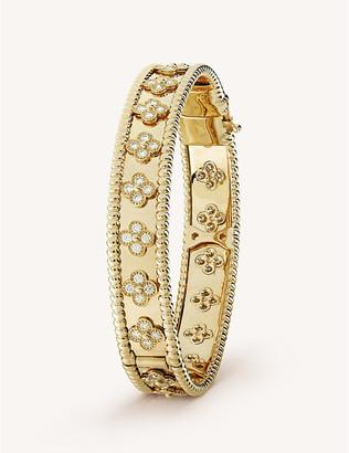 Van Cleef & Arpels Women's Yellow Gold Perlee Clover And Diamond Medium Bracelet