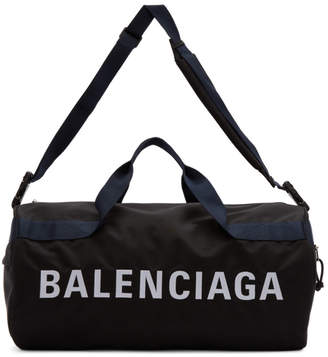 Balenciaga Black and Navy Wheel Gym Bag