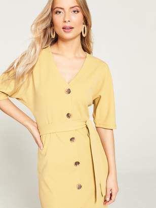 Very V Neck Mock Horn Midi Dress - Stone