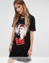 Reclaimed Vintage Inspired Band T-Shirt Dress With Bowie Print