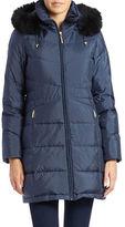 Ellen Tracy Blue Fox Fur-Trimmed Coat