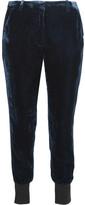 3.1 Phillip Lim Stretch Wool-trimmed Velvet Track Pants - Midnight blue