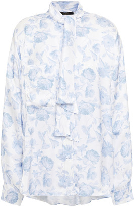 Mother of Pearl Delaine Tie-neck Floral-print Hammered-satin Blouse