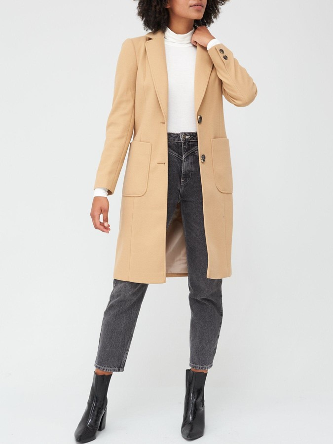 Thumbnail for your product : Very Longline Single Breasted Coat - Camel