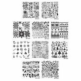 Bundle Monster 10pc Holiday Themed Nail Art Stamping Plates - Occasions Collection, Christmas + NYE