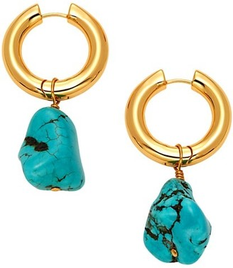 Nest 22K Goldplated & Turquoise Hoop Nugget Drop Earrings