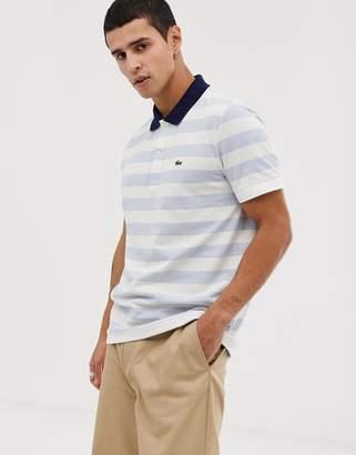 Lacoste stripe polo in blue