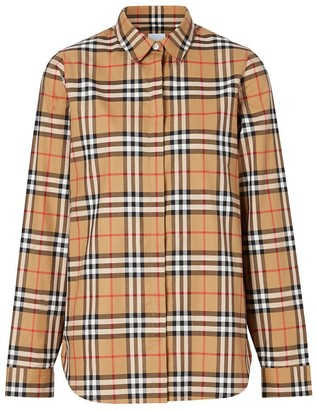 Burberry Vintage Check Cotton Oversized Shirt