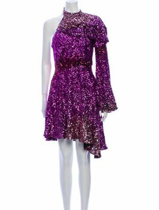 Halpern Mock Neck Knee-Length Dress Pink