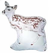 Pin It Fauna Fawn Pillow - Dk Brown On Natural