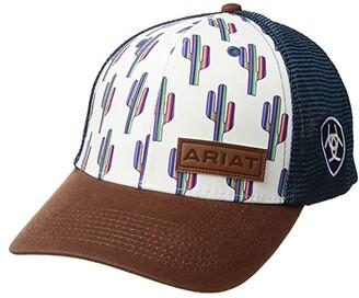 Ariat Multi Cactus Snapback Cap (White/Blue) Caps