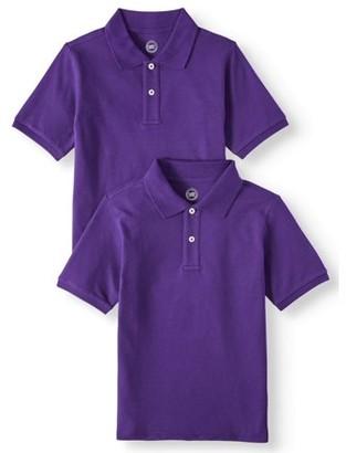 Wonder Nation Boys School Uniform Short Sleeve Pique Polo Shirts, 2-Pack Value Bundle, Sizes 4-18 & Husky