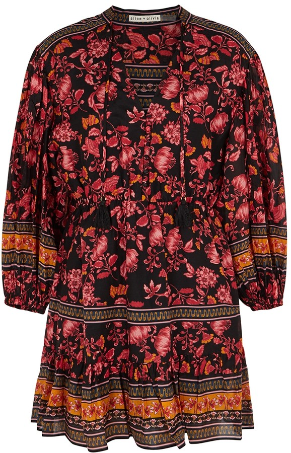 Alice + Olivia Sedona floral-print cotton-blend mini dress