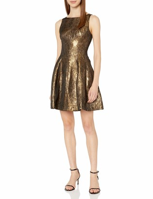 Halston Women's Fit and Flare Metallic Jacquard Dress