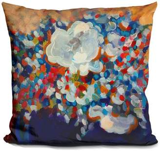 Lilipi 6 White Flowers Decorative Accent Throw Pillow