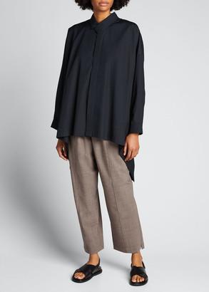 eskandar High-Low Collared Button-Down Shirt