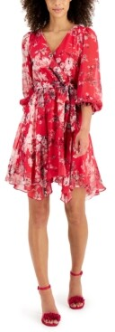 Thumbnail for your product : Taylor Petite Printed Faux-Wrap Dress
