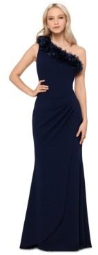 Xscape Evenings Petite Floral-Applique One-Shoulder Gown