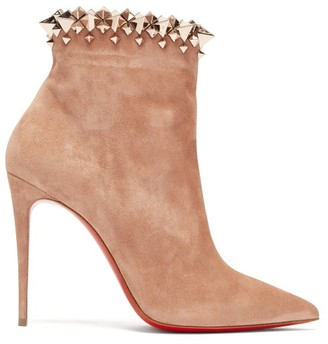 Christian Louboutin Firmamma 100 Studded-cuff Suede Boots - Womens - Nude