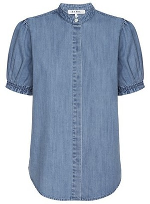 Frame Balloon-Sleeve Chambray Blouse