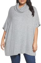 Caslon Plus Size Women's Turtleneck Poncho Sweater