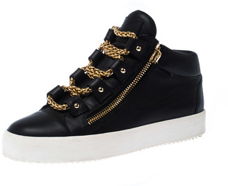 Giuseppe Zanotti Black Leather Gold Chain Laces Dual Zip Sneakers Size 42