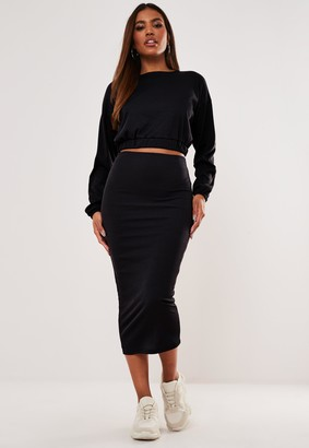 Missguided Black Rib Crop Top And Midaxi Skirt Co Ord Set