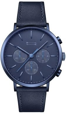 Uri Minkoff Griffith Blue Tone Leather Watch, 43MM