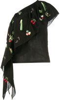 Rosie Assoulin fruit embroidered one shoulder top - women - Cotton - XS