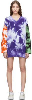 MSGM Purple Tie-Dye V-Neck Sweater Dress