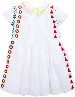 Burberry Embroidered Pintucked Short-Sleeve Dress, Size 3-14