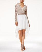 City Studios Juniors' Lace Colorblocked High-Low Dress